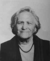 Black and white photo of Maddalena Pavesi, an elderly woman with short light hair.