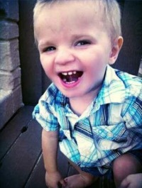 Photo of Chance Vanderpool, a toddler boy wearing a plaid shirt. He has fair skin and light blond hair.