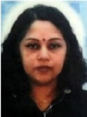Photo of Jeya Pichamuthu, a woman with tan skin and long, wavy black hair. She has a bindi on her forehead.
