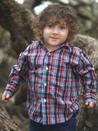 Photo of a little boy with curly hair, wearing a plaid shirt.