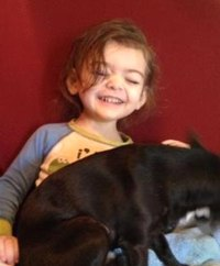 Photo of Harmony Carsey, a toddler girl. She has brown hair and fair skin, and she is holding a dog on her lap.