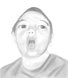Pencil drawing of Dylan Walborn, a small boy with light skin and dark hair. His mouth is open.
