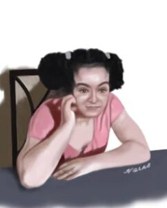 Drawing of Gladys Ambert, a young woman with curly black hair in two ponytails; she is wearing a pink T-shirt.