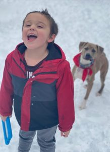 Photo of a small boy standing in the snow, mouth open in a laugh, holding a brown dog's leash. He has fair skin and brown hair, and his cheeks are red from the cold.